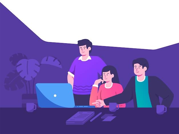 비즈니스 팀 동료 상담 댄 개발 프로젝트 개념 그림. 팀 작업 및 brainstroming 개념 평면 그림