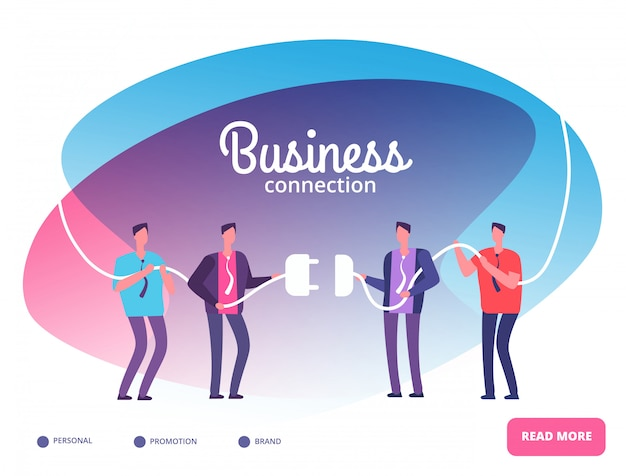 Business teams connect plug. businessmen connecting connectors. cooperation and team growth vector concept