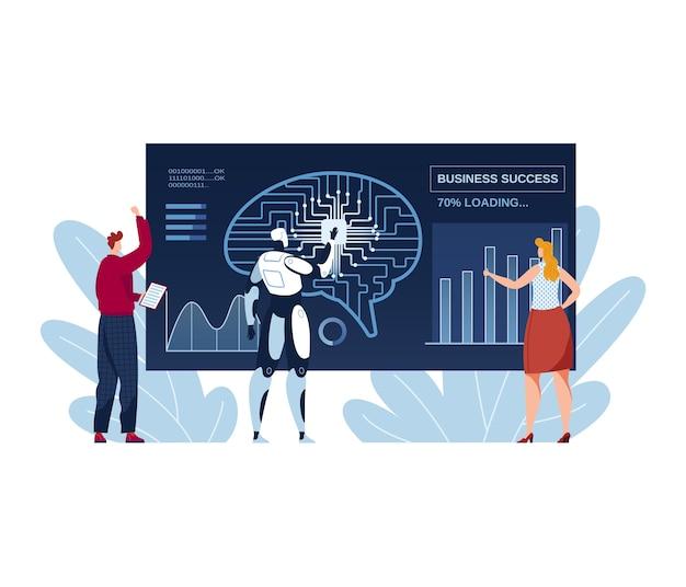 Деловая работа в команде, ai с людьми иллюстрации. цифровые графические технологии на компьютере, концепция будущей работы автоматизации. творческий инфографический успех, плоское современное развитие в офисе.