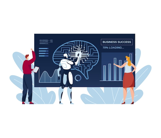 Business teamwork, ai with people illustration. digital graphic technology at computer, future automation work concept. creative infographic success, flat modern development in office.