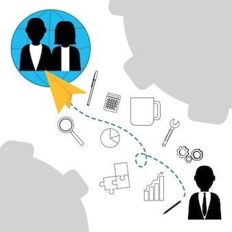 オフィス要素を備えたビジネスチームワークアバター