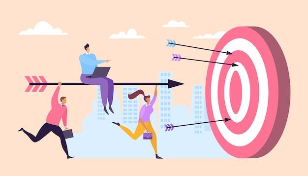 Business teamwork boss control running character staff hold arrow cartoon  illustration. goal achievement finance concept.
