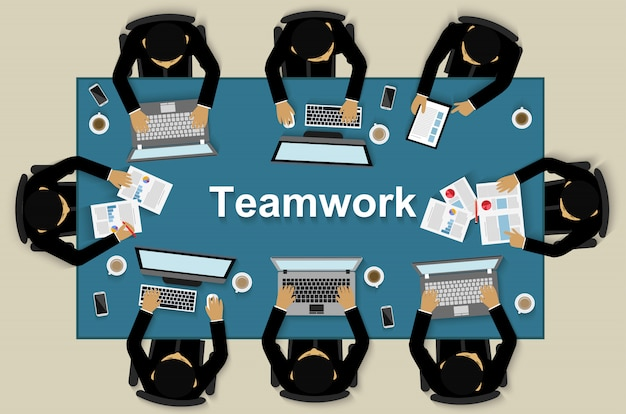 Business teamwork, businessman help to brainstorm modern ideas and to achieve success