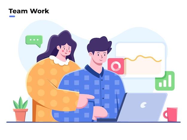 従業員がラップトップを使用するオフィスでのビジネスチームワークコラボレーション