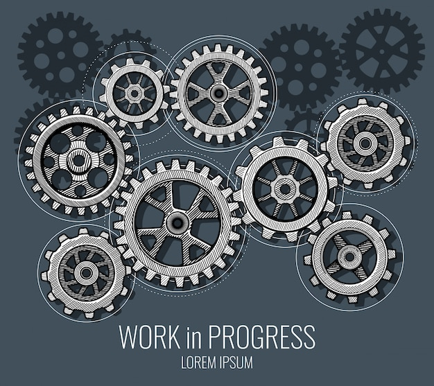 Business teamwork and communication vector concept with hand drawn gears