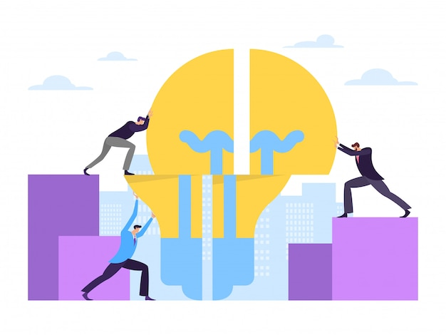 Business teamwork company work energy industry concept on white background,   illustration. male character hold light bulb.