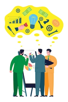 Business and teamwork concept. colleagues, business partners look at charts and discuss issues and strategies for building and developing a business, raising finance and resources for a startup.