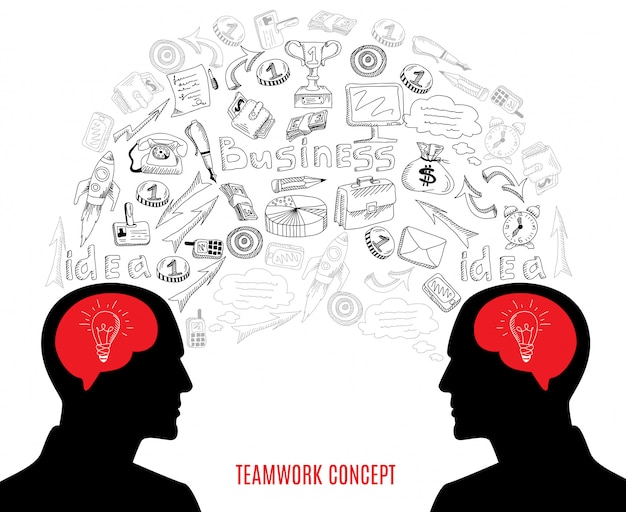 Business teamwork concept icons composition illustration