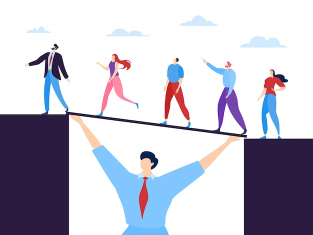 Business teamwork concept  illustration. specialists united by common goal and mutual assistance. man holds bridge.