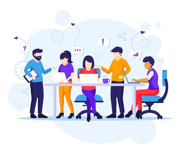 ビジネスチームワークの概念、テーブル会議で働く人々と共同作業オフィスのイラスト