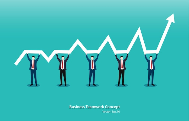 Business teamwork concept. team of five people standing and holding indicator of growth and development in common business on raised hands. vector illustration flat
