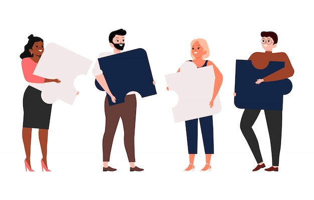 Business and teamwork concept. team metaphor. people connecting puzzle elements. symbol of cooperation and partnership illustration
