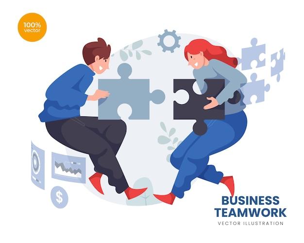 Бизнес-концепция совместной работы с деловым мужчиной и женщиной в команде, соединяющей головоломку и цифровой экран