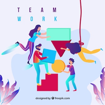 Business teamwork concept with flat design