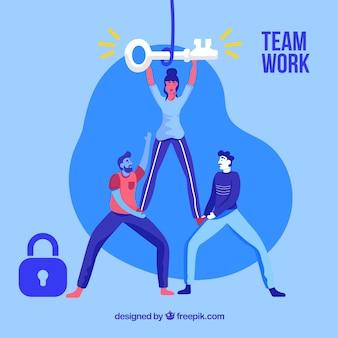 평면 디자인 비즈니스 팀워크 개념