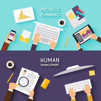 Business teamwork. flat banner of business strategy. creative team desktop top view with tablets, stationery and people working together. business meeting and brainstorming. flat design.