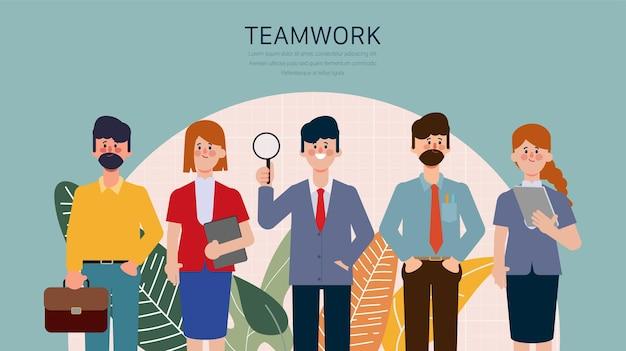ビジネスチームワークフラットキャラクターアニメーション漫画