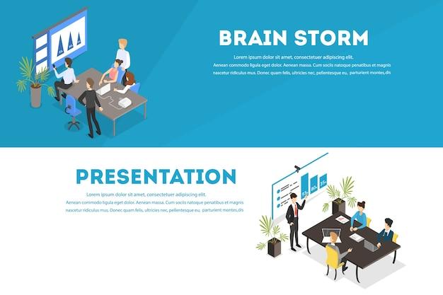 ビジネスチームワーク水平バナーセット。人々はチームで働き、ブレインストーミングを行い、将来の戦略を立てます。会議でのプレゼンテーションデモ。ベクトルフラット図