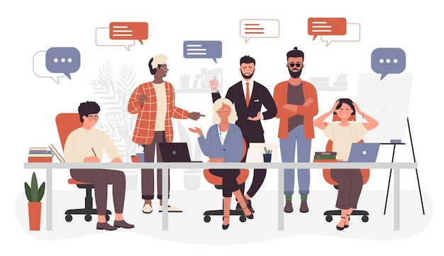 Openspace 사무실 기업 사무실 근로자 사람들 회의 채팅에서 비즈니스 팀워크