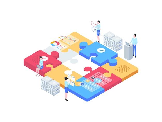ビジネスチームワークアイソメトリックイラスト。モバイルアプリ、ウェブサイト、バナー、図、インフォグラフィック、その他のグラフィックアセットに適しています。