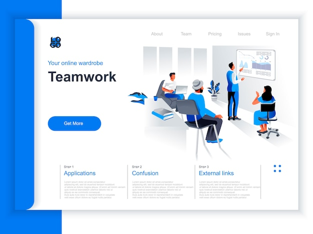 Business teamwork isometric landing page. manager doing presentation before colleagues in office situation. productive corporate teamwork, data analyzing and strategy planning perspective flat design.
