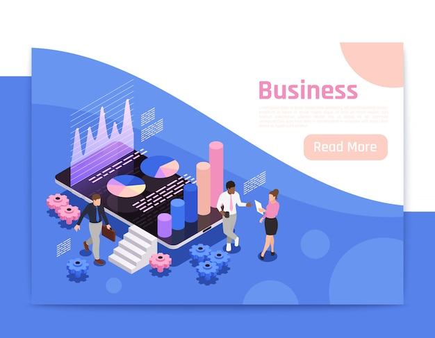 Business teamwork isometric page design with diagrams and charts  illustration