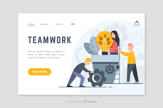 Business teamwork landing page design