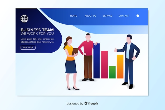 Business teamwork landing page template