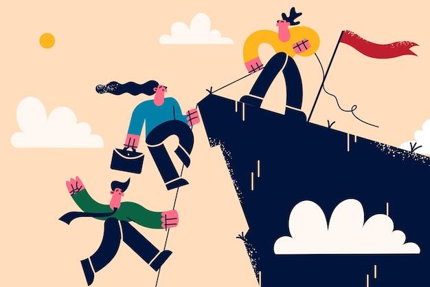 비즈니스 팀워크, 리더십 및 지원 개념. 산 정상에 서있는 비즈니스 리더는 팀이 함께 성공을 거두기 위해 팀원의 정상에 오르도록 도와줍니다.