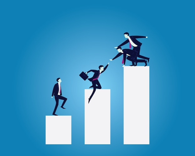 Business teamwork leadership concept. businessmen working together to climb ladder of succ