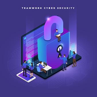 Деловая совместная работа малых народов, работающих с концепцией кибербезопасности данных и компьютера