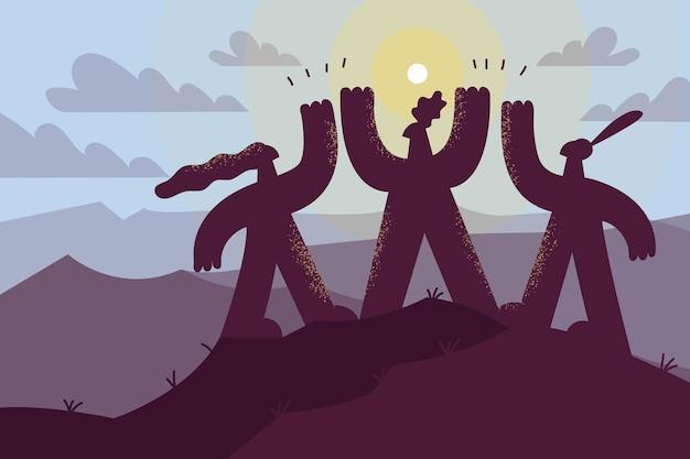 비즈니스 팀워크, 파트너십, 협력 개념