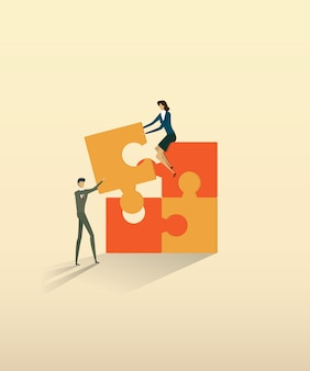 Business teamwork people partnership connecting puzzle elements.