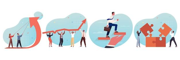 비즈니스, 팀워크, 계획, 이익, 성공, 지원, 목표 달성, 경력 설정 개념. 화살표를 함께 들고 직소 퍼즐을 수집하는 기업인 여성 사무원 관리자 지도자의 팀의 컬렉션