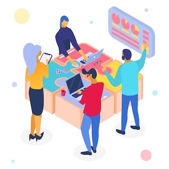 ビジネスチームワークパズル、等角投影図。人々はキャラクターを成功させるためにウェブで働きます。解決
