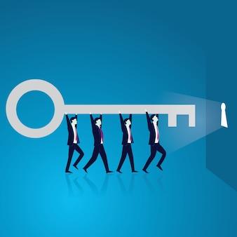 Business teamwork to reach success together