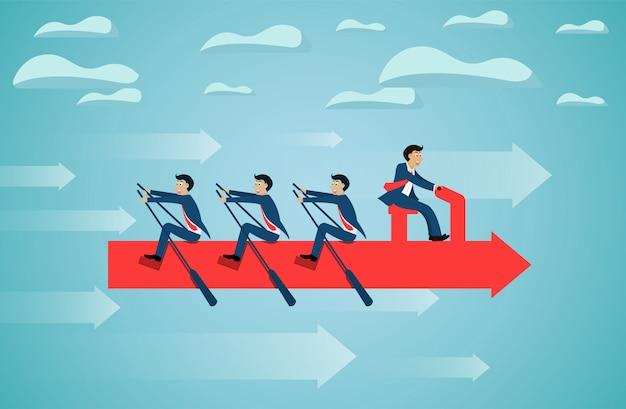 Business teamwork on rowing arrow on sky success goal.