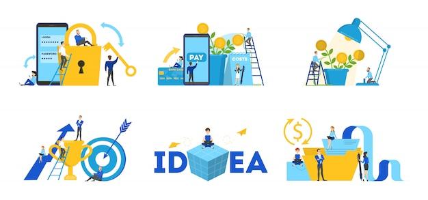 ビジネスチームワークセット。人々のコレクションはチームで働いて、スマートフォンで財務操作を行います。トロフィーカップとキーを持つ労働者。ブレインストーミングと戦略。ベクトルフラット図