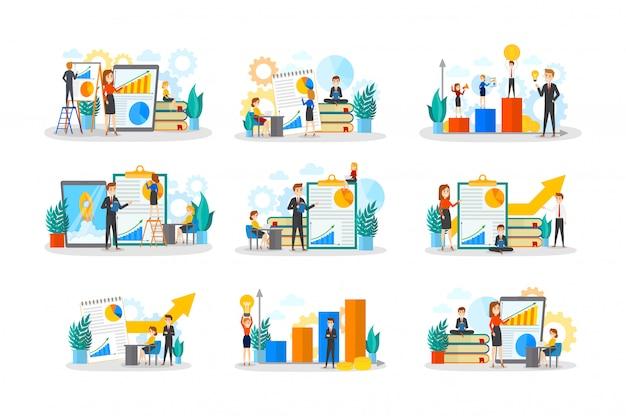 ビジネスチームワークセット。人々の集まりがチームで働き、財務活動を行う