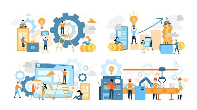 ビジネスチームワークセット。人の集まりがチームで働いて、解決策を見つけます。労働者はプレゼンテーションを行い、戦略を構築します。求職者を検索します。ベクトルフラット図