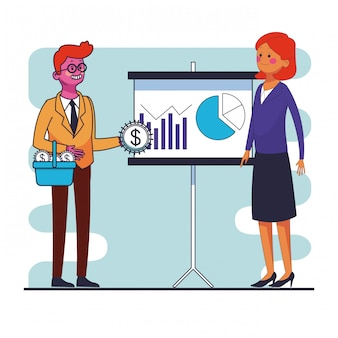 Business teamwork showing profits statisctics on whiteboard vector illustration graphic design