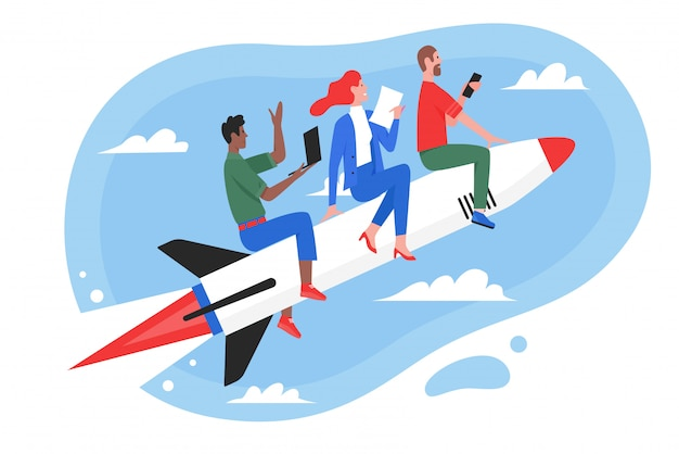 Business teamwork success concept illustration, cartoon flat superhero people team flying on fast rocket, working on start new idea or startup