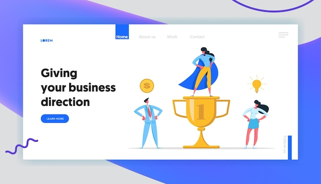 Business teamwork success and cooperation concept landing page set