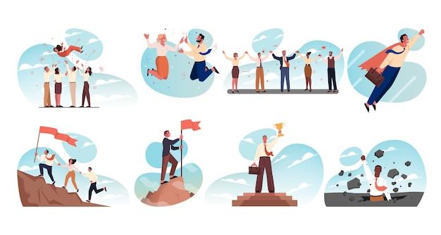 비즈니스, 팀워크, 성공, 목표 달성, 리더십, 축하, 승리 세트 개념. 함께 손을 잡고 승리를 축하 기업인 여성 슈퍼 히어로 점원 관리자의 팀의 컬렉션입니다.
