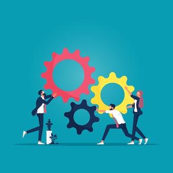비즈니스 팀이 함께 기어를 추진하는 비즈니스 팀워크 벡터 개념 협력의 상징