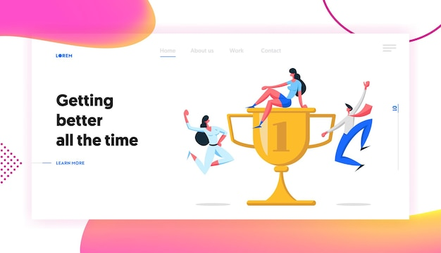 Business teamwork with award success cooperation concept landing page set