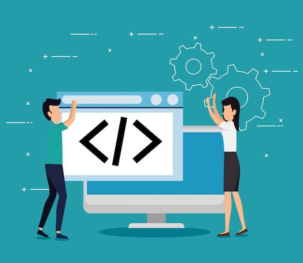 Business teamwork with computer website