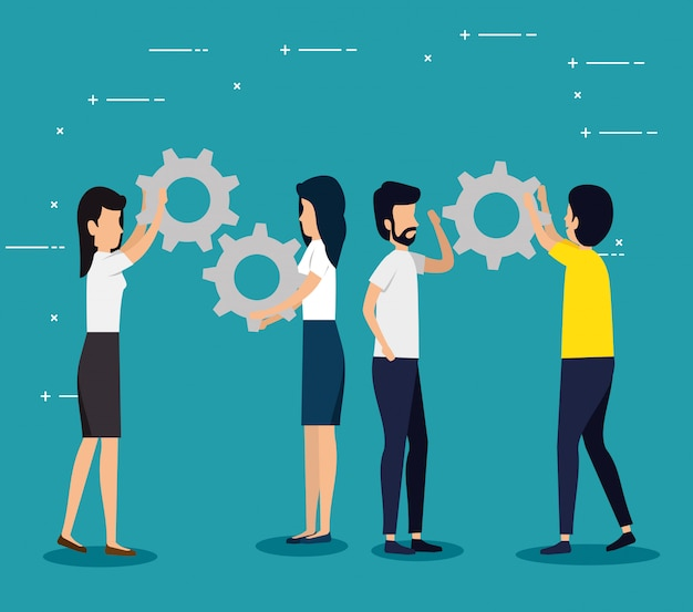 Business teamwork with gears industry