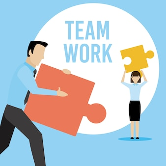 Business teamwork with jigsaw pieces vector illustration graphic design