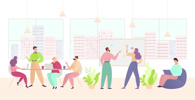 Business teamwork, workplace illustration, cartoon corporate group team of people work in office interior, flat characters meeting